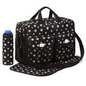 Black 3pcs Baby Nappy Nappy Changing Bag Set B:Daisy Design