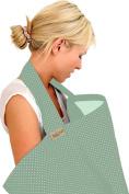 BebeChic * 100% Cotton * Breastfeeding Cover *105cm x 69cm* Boned Nursing Apron - with drawstring Storage Bag - wild thyme / white dot