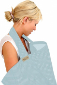 BebeChic * 100% Cotton * Breastfeeding Cover *105cm x 69cm* Boned Nursing Apron - with drawstring Storage Bag - powder blue / white dot