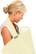 BebeChic * 100% Cotton * Breastfeeding Cover *105cm x 69cm* Boned Nursing Apron - with drawstring Storage Bag - buttercream / multi dot