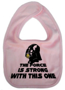 IiE, The Force is strong with this one, Boy Girl Unisex Feeding Bib, Pink