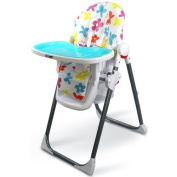 iSafe MAMA Highchair - Le Fleurs Recline Compact Padded Baby High Low Chair Complete With Double Tray & Storage Basket