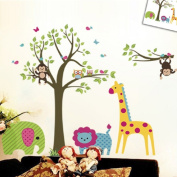 Discountfan Large Colourful Tree & Jungle Animals Wall Sticker Nursery Bedroom Wall Art Decor Cute Giraffe Monkey Owl Tree Art Wall Stickers Kids Room Removable Decal Baby Bedroom Wall Art by kiwigo