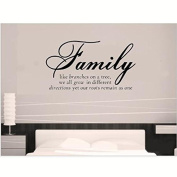 30*45cm Family Like Branches on a Tree - Quote Words Wall Sticker - Art Decal Vinyl Stickers, Easy to Apply, Free Applicator, Easy Peel