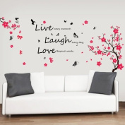 Walplus Huge Flowers Blossom Butterflies Children Wall Stickers Love Live Laugh Quote