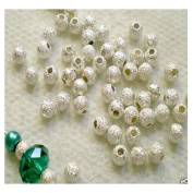 DUMAN 100pcs 4mm Stardust Silver Plated Brass Base Spacer Round Beads Jewellery Making