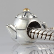 Teapot 14K Gold Plated Charm Authentic 925 Sterling Silver Bead Fits Pandora Chamilia Biagi Troll Charms Europen Style Bracelets