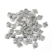 Lot 50 Silver Plated MADE WITH LOVE Heart Charms 0.9cm HOT