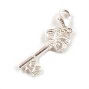Sterling Silver 18th Birthday Key Clip On Charm - With 11mm Clasp