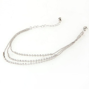 Silver Tone 3 Row Crystal Chain Anklet Ankle Bracelet HOT