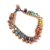 81stgeneration Glass multi bead brass gold bell anklet bracelet
