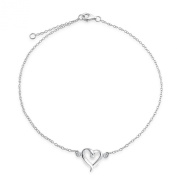 Bling Jewellery Sterling Silver Open Heart Anklet Adjustable Ankle Bracelet 25cm