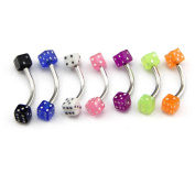 Lot of 7 16G Colourful 3x3x3mm Dice Eyebrow Bar Rings Barbell