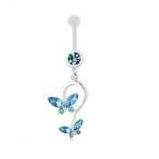 Butterfly Dangle Pendant Ball Button Barbell Bar Belly Navel Ring Body Piercing