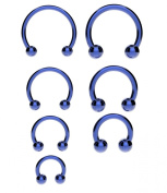 Surgical Steel Horseshoe Bar ANODIZED BLUE - Lip, Nose, Septum, Ear Ring, Tragus Various Sizes Available