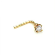 9ct Gold 0.02ct Square Diamond L-Shaped Nose Stud / Studs