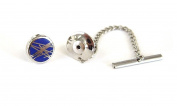 Tyler & Tyler Diffusion Navy Tie Pin, Silver Finish, Boxed