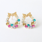 Fashion Hot Cute Sweet Lovely Bowtie Garland Rhinestone Earring Ear Stud