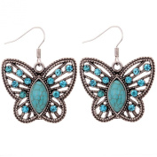 Silver, Turquoise & Crystal Butterfly Earrings