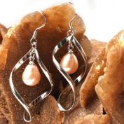 Sweet & Happy Girl'S Store 8-9mm White Pearl Jewellery Dangle Earrings S925 Silver Hook Twist Shape