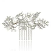 Ever Faith Crystal Vintage Style Flower Ivory Simulated Pearl Hair Comb