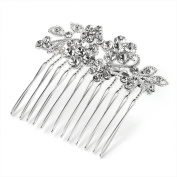 GIZZY® Ladies Girls Silver Effect Diamonte Crystal Flower hair Comb