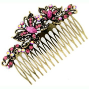 Hair Accessories Antique Gold & Pink Crystal Butterfly Hair Comb