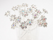 Clear Crystal Flower Hair Pins Ideal for Bridal Party, Bridesmaids, Proms, Pageants Hair Pins, Pack of 20