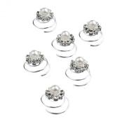 6 x Silver Crystal Flower Pearl Swirl Bridal Hair Spring Pins Accessories Jewellery