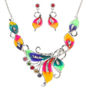 Yazilind Colourful Crystal Phoenix Leaf Tibetan Silver Chunky Bib Earrings Necklace Jewellery for Women Gift