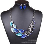 Elegant Women's Blue Peacock Enamel Festoon Bib Necklace Stud Earrings Set