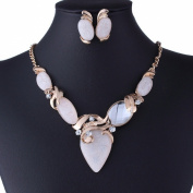 Twisted Gp Oval Bead Stud Earrings White Acrylic Stone Collar Bib Necklace Set