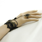 niceeshop(TM) Crystal Retro Wrist Tassels Bracelet Ring Finger Chain Set