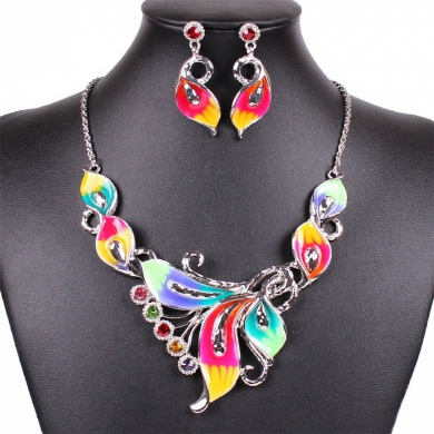 Women's Exotic Multi-Coloured Enamel Flower Bib Choker Necklace Earring Set