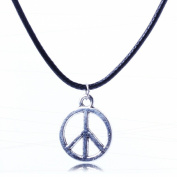 Dangle Silver Peace Sign Slide Charm Pendant Black Leather Rope Necklace