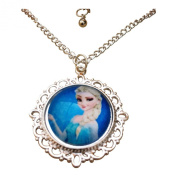 Frozen. Princess Elsa Portrait Glass Cabochon Pendant Necklace with 46cm Silver Tone Chain