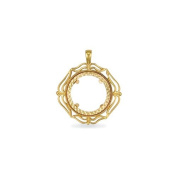 Jewelco London 9ct Solid Gold casted full-size Sovereign coin pendant mount with a wavy design border