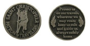 3.2cm ST SAINT CHRISTOPHER PEWTER POCKET TOKEN Keepsake Medal