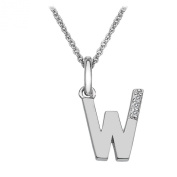 Hot Diamonds Round Diamond and Micro Letter 925 Sterling Silver Pendant with 46 cm Curb Chain