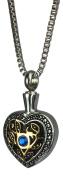 Blue Crystal Heart Urn Pendant - Memorial Ash Keepsake - Cremation Jewellery
