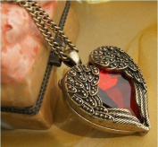 Coco Digital Retro Bronze Chain Red Heart Vintage Palace Pendant Angel Wings