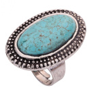 Yazilind Jewellery Vintage Rimous Oval Turquoise Tibetan Silver Striking Simplicity Adjustable Ring for Women