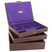 NEW for 2013 Brown with Purple Lining Stackers Jewellery Box Set of 3 Trays as Shown