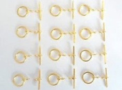 12 Sets of Golden Quality Round Toggle Clasps. GR8 for Leather & Kumihimo Projects...!