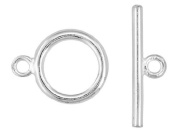 12 Sets of Plain Polished Silver Quality Round Toggle Clasps. GR8 for Leather & Kumihimo Projects...!