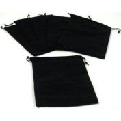 Findingking 6 Pouches Black Velvet Drawstring Jewellery Bags 13cm
