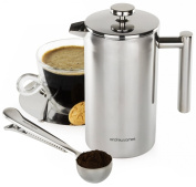 Andrew James Double Walled Stainless Steel Cafetiere 350ml And Coffee Measuring Spoon With Bag Sealing Clip. High Quality 304 Grade Stainless Steel Includes Presentation Gift Box