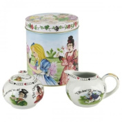 Cardew Alice in Wonderland Porcelain 210ml Covered Sugar and Creamer Set in a Tin Gift Box