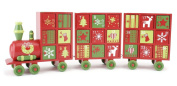 Wooden Red And Green Christmas Advent Train Hinged Doors