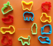 Play Dough (Play Doh) / Biscuit Cutters Pack of 12 - Asst. Shapes Kids Craft by Paint and Play Today